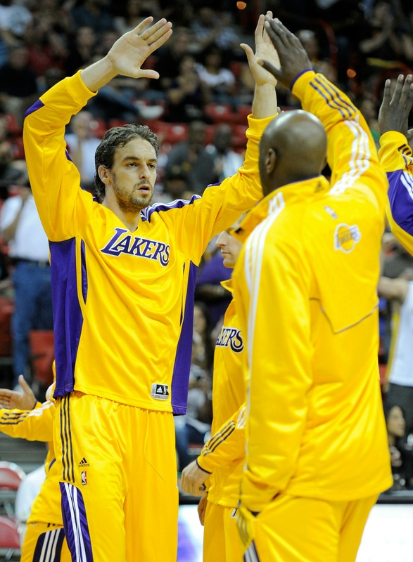 Pau Gasol (16) of the Los Angeles Lakers is introduced before a preseason game against the Sacramento Kings at the Thomas & Mack Center October 13, 2010 in Las Vegas, Nevada. Getty Images/ Ethan Miller