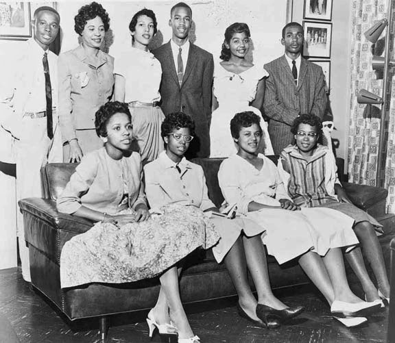 The Little Rock Nine. On Sept. 25, 1957, President Eisenhower federalized the Arkansas National Guard and deployed U.S. paratroopers to carry out the federal court's desegregation orders that allowed the first African American students to enter Little Rock's Central High School. Source: Library of Congress ..........