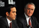 Head coach Erik Spoelstra (L) and President Pat Riley (R) of the Miami Heat talk during a press conference after a welcome party for new teammates LeBron James, Dwyane Wade, and Chris Bosh at American Airlines Arena on July 9, 2010 in Miami, Florida. Getty Images/ Doug Benc ...........