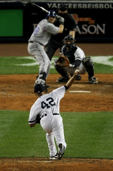 Mariano Rivera (42) of the New York Yankees pitches against the Texas Rangers in Game Five of the ALCS during the 2010 MLB Playoffs at Yankee Stadium on October 20, 2010 in the Bronx borough of New York City. Photo by Nick Laham/Getty Images ......