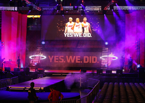 General atmosphere before the Miami Heat introduce LeBron James, Chris Bosh and Dwyane Wade in a concert like press conference at America Airlines Arena on July 9, 2010 in Miami, Florida. Getty Images/ Marc Serotta ......