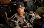 New England Patriots wide receiver Wes Welker (83) talks about going back to Miami to play against his former team during a media availability in front of his locker at the NFL football team's facility in Foxborough, Mass., Thursday morning, Sept. 30, 2010. AP Photo/Stephan Savoia