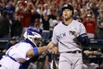 Alex Rodriguez (13) of the New York Yankees reacts after striking out in the ninth inning to end Game Six of the ALCS during the 2010 MLB Playoffs at Rangers Ballpark in Arlington on October 22, 2010 in Arlington, Texas. The Rangers won 6-1 to advance to the World Series. Photo by Elsa/Getty Images ..........