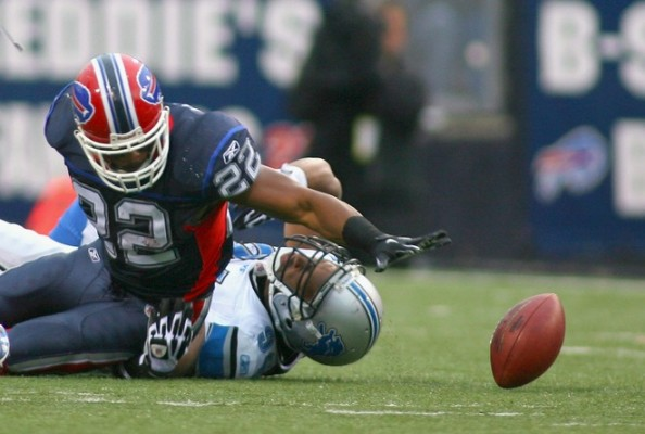 Fred Jackson #22 of the Buffalo Bills fumbles while being tackled by Lawrence Jackson #94 of the Detroit Lions at Ralph Wilson Stadium on November 14, 2010 in Orchard Park, New York. Photo by Rick Stewart/Getty Images