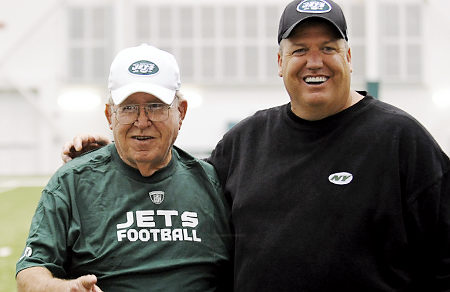 Buddy Ryan (left) seen here with his son Rex Ryan coach of the New York Jets . courtesy of Associated Press ...........