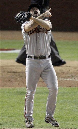 San Francisco Giants' Brian Wilson gestures after winning baseball's World Series against the Texas Rangers 3-1 Monday, Nov. 1, 2010, in Arlington, Texas. AP Photo/Eric Gay