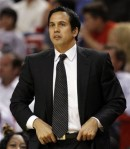 Miami Heat head coach Erik Spoelstra watches the game against the Washington Wizards in the second quarter of an NBA basketball game in Miami, Monday, Nov. 29, 2010. AP Photo/Alan Diaz ....