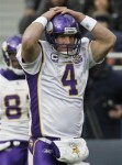 Minnesota Vikings quarterback Brett Favre reacts after a missed pass for what would have been a touchdown in the second half of an NFL football game against the Chicago Bears in Chicago, Sunday, Nov. 14, 2010. AP Photo/Charles Rex Arbogast ......
