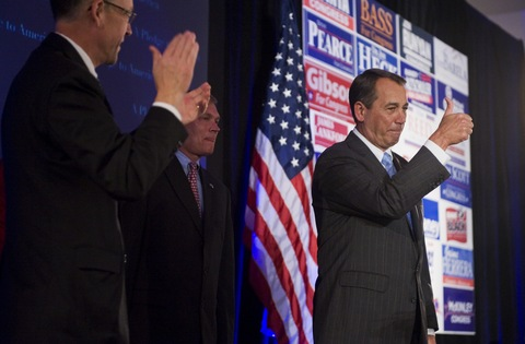 Speaker of the House Designate Rep John Boehner (R-Oh,.) seen here triumphant after his party's victories in the midterm elections. Getty Images /Tom Williams ....