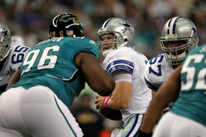 Quarterback Jon Kitna (3) of the Dallas Cowboys drops back to pass against the Jacksonville Jaguars at Cowboys Stadium on October 31, 2010 in Arlington, Texas. Photo by Ronald Martinez/Getty Images ......