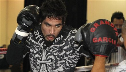 Antonio Margarito, of Mexico, punches during a workout in Grapevine, Texas, Tuesday, Nov. 9, 2010. Margarito is scheduled to fight Manny Pacquiao, of the Philippines, on Saturday in Arlington, Texas, for the vacant WBC light middleweight title. AP Photo/LM Otero ........