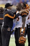 Cincinnati Bengals coach Marvin Lewis talks with wide receiver Chad Ochocinco (85) during the second quarter of an NFL football game against the Indianapolis Colts in Indianapolis, Sunday, Nov. 14, 2010. AP Photo/Darron Cummings ........