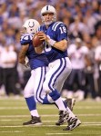 Peyton Manning (18) of Indianapolis Colts throws a pass during the NFL game against the Houston Texans at Lucas Oil Stadium on November 1, 2010 in Indianapolis, Indiana. Photo by Andy Lyons/Getty Images ........