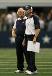 Arlington , Tx,. (L-R) Head coach Wade Phillips and assistant head coach/offensive coordinator Jason Garrett of the Dallas Cowboys looks on against the Jacksonville Jaguars at Cowboys Stadium on October 31, 2010 in Arlington, Texas. Photo by Stephen Dunn/Getty Images .....