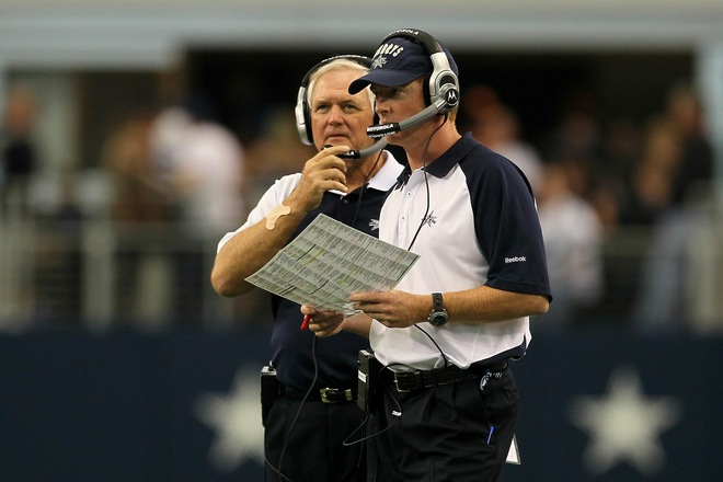 (L-R) Head coach Wade Phillips and assistant head coach/offensive coordinator Jason Garrett of the Dallas Cowboys looks on against the Jacksonville Jaguars at Cowboys Stadium on October 31, 2010 in Arlington, Texas. Photo by Stephen Dunn/Getty Images .......