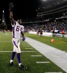 Minnesota Vikings wide receiver Randy Moss waves to the fans after his former team, the New England Patriots, defeated the Vikings 28-18 in an NFL football game in Foxborough, Mass., Sunday, Oct. 31, 2010. AP Photo/Winslow Townson ......