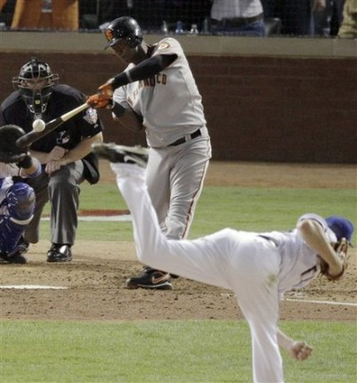 San Francisco Giants' Edgar Renteria hits a three-run home run off Texas Rangers' Cliff Lee during the seventh inning of Game 5 of baseball's World Series Monday, Nov. 1, 2010, in Arlington, Texas. AP Photo/Eric Gay ......