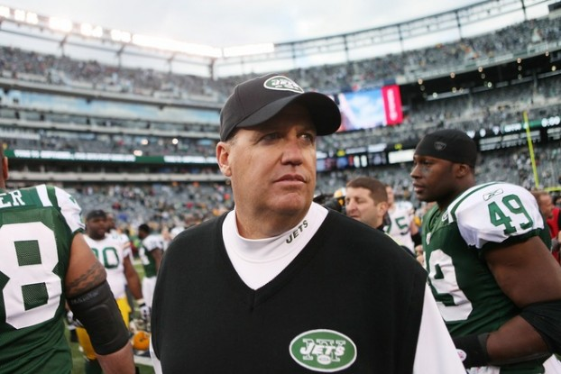 Rex Ryan, head couch of the New York Jets walks off the field at the end of a game against the Green Bay Packers on October 31, 2010 at the New Meadowlands Stadium in East Rutherford, New Jersey. The Packers defeated the Jets 9 - 0. Photo by Andrew Burton/Getty Images