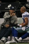 Quarterback Tony Romo (9) talks with Miles Austin (19) of the Dallas Cowboys on the sidelines during a game against the Jacksonville Jaguars at Cowboys Stadium on October 31, 2010 in Arlington, Texas. Photo by Stephen Dunn/Getty Images ....
