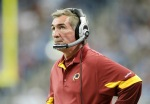 Washington Redskins head coach Mike Shanahan watches the action during the game against the Detroit Lions at Ford Field on October 31, 2010 in Detroit, Michigan. The Lions defeated the Redskins 37-25. Photo by Leon Halip/Getty Images .....