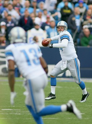 Shaun Hill (14) of the Detroit Lions readies to throw a pass to Nate Burleson (13) against the Buffalo Bills at Ralph Wilson Stadium on November 14, 2010 in Orchard Park, New York. Photo by Rick Stewart/Getty Images ...