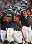 Chicago Bears linebacker Lance Briggs (55) celebrates after intercepting a pass by Minnesota Vikings quarterback Brett Favre in the second half of an NFL football game in Chicago, Sunday, Nov. 14, 2010. The Bears won 27-13 . AP Photo/Nam Y. Huh .....