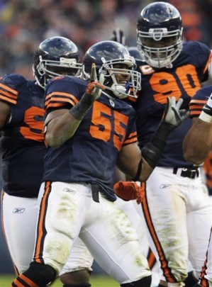 """<p><font face=""""garamond"""" size=""""2""""> Chicago Bears linebacker Lance Briggs (55) celebrates after intercepting a pass by Minnesota Vikings quarterback Brett Favre in the second half of an NFL football game in Chicago, Sunday, Nov. 14, 2010. The Bears won <b> 27-13 </b>. AP Photo/Nam Y. Huh    ..... </font></p>"""
