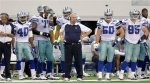 Dallas Cowboys head coach Wade Phillips, center, stands in front his team, including Danny McCray (40), Leonard Davis (70), Leon Williams, Sean Lee (50) and Sean Lissemore (95), during the fourth quarter of an NFL football game against the Jacksonville Jaguars in Arlington, Texas, Sunday, Oct. 31, 2010. The Jaguars won 35-17. AP Photo/Sharon Ellman .....