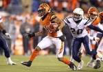 Bernard Scott (28) of the Cincinnati Bengals runs with the ball during the NFL game against the San Diego Chargers at Paul Brown Stadium on December 26, 2010 in Cincinnati, Ohio. The Bengals defeated the Chargers 34-20 . Photo by Andy Lyons/Getty Images ..........