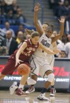 UConn's Tiffany Hayes defends Florida State guard Alexa Deluzio in the second half Tuesday at the XL Center. The Huskies won 93-62 for their record 89th consecutive win . Hartford Courant/ Michael McAndrews ..............