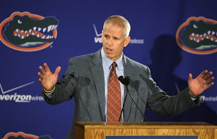 Florida athletic director Jeremy Foley speaks to reporters after football coach Urban Meyer talks about his resignation during a news conference in Gainesville, Fla., Wednesday, Dec. 8, 2010. Meyer is leaving one of the premier jobs in college football for the second time to spend more time with his family. AP Photo/John Raoux ......