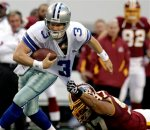 Dallas Cowboys quarterback Jon Kitna breaks a tackle by Washington Redskins' Lorenzo Alexander during the first half of an NFL football game, Sunday, Dec. 19, 2010 in Arlington, Texas. AP Photo/Sharon Ellman .............