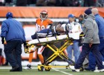 Mike Tolbert (35) of the San Diego Chargers is taken off of the field after he was injured during the NFL game against the Cincinnati Bengals at Paul Brown Stadium on December 26, 2010 in Cincinnati, Ohio. Photo by Andy Lyons/Getty Images ..........