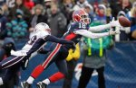 Buffalo Bills' Naaman Roosevelt (18) can't make the catch under pressure from New England Patriots' Darius Butler (28) during the second half of an NFL football game in Orchard Park, N.Y., Sunday, Dec. 26, 2010. The Patriots won 34-3. AP Photo/David Duprey ......