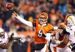 Carson Palmer (9) of the Cincinnati Bengals throws a pass during the NFL game against the San Diego Chargers at Paul Brown Stadium on December 26, 2010 in Cincinnati, Ohio. The Bengals 34-20. Photo by Andy Lyons/Getty Images ..........