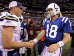 Indianapolis Colts quarterback Peyton Manning, right, shakes hands with San Diego Chargers quarterback Philip Rivers following an NFL football game in Indianapolis, Monday, Nov. 29, 2010. The Chargers defeated the Colts 36-14. AP Photo/Michael Conroy ......