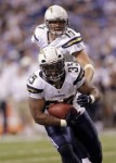 San Diego Chargers fullback Mike Tolbert (35) takes a hand off from quarterback Philip Rivers while playing the Indianapolis Colts in the second half an NFL football game in Indianapolis, Sunday, Nov. 28, 2010. San Diego won 36-14 . AP Photo/AJ Mast ........