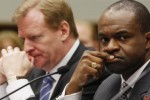 NFL Commissioner Roger Goodell is seen here alongside NFLPA Executive Director DeMaurice Smith at a Congressional hearing in front of the House Oversight Committee in Washington , DC . courtesy of AP Photo/ Chris McNally ..........