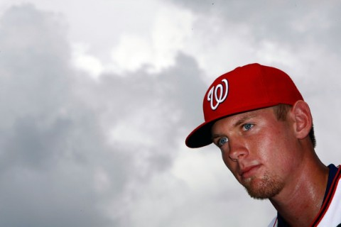 Stephen Strasburg, the overall first pick in the 2009 Major League Baseball draft, takes part in a press conference where he was introduced at Nationals Park August 21, 2009 in Washington, DC. Strasburg, a right handed pitcher from San Diego State University, signed with the Nationals earlier this week wth a record contract for an amateur player. Win McNamee / Getty Images ........