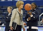 Associate head coach Chris Dailey talks with Tiffany Hayes during warm-ups before UConn's game against Florida State Tuesday at the XL Center. UConn was trying to win its 89th straight game and break the record of 88 in a row set by the UCLA men in 1974. Courtesy of Hartford Courant/ Michael McAndrews ............. @ copyrighted material ........ all rights reserved .