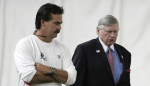 Titans' coach Jeff Fisher (left) is seen here with team owner Bud Adams. Speculation is now mounting as whether or not the coach will return next season to the team. Associated Press ...........