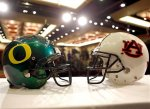 Auburn and Oregon football helmets are displayed during an NCAA college football news conference, Thursday, Jan. 6, 2011, in Scottsdale, Ariz. Oregon is scheduled to play Auburn in the BCS Championship on Monday, Jan. 10, in Glendale, Ariz. AP Photo/Matt York .......
