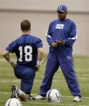 Indianapolis Colts head coach Jim Caldwell , right, talks with quarterback Peyton Manning as the team worked out at the NFL football team's practice facility in Indianapolis, Wednesday, Jan. 5, 2011. The Colts face the New York Jets in Saturday's AFC wild-car round. AP Photo/Michael Conroy ........