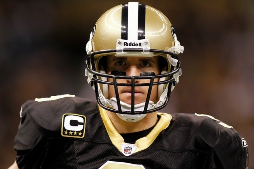 Drew Brees (9) of the New Orleans Saints warms up before playing the Tampa Bay Buccaneers at the Louisiana Superdome on January 2, 2011 in New Orleans, Louisiana. Photo by Chris Graythen/Getty Images .......