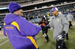 Minnesota Vikings interim coach Leslie Frazier , right, and injured quarterback Brett Favre shake hands after an NFL football game against the Philadelphia Eagles, Tuesday, Dec. 28, 2010, in Philadelphia. Minnesota won 24-14 . AP Photo/Miles Kennedy ..........