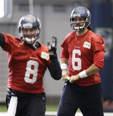 Seattle Seahawks quarterback Charlie Whitehurst (6) watches as Matt Hasselbeck throws during NFL football practice Tuesday, Jan. 4, 2011, in Renton, Wash. The Seahawks host the New Orleans Saints on Saturday in an NFC wild-card game. AP Photo/Elaine Thompson ........