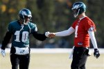 Philadelphia Eagles wide receiver DeSean Jackson (10) greets quarterback Kevin Kolb (4) during practice at the team's NFL football training facility, Thursday, Jan. 6, 2011, in Philadelphia. The Eagles host the Green Bay Packers in a first round playoff game on Sunday. (AP Photo/Matt Slocum)