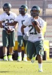 Oregon running back LaMichael James runs with the ball during NCAA college football practice, Tuesday, Jan. 4, 2011, in Phoenix. Oregon is scheduled to play Auburn in the BCS Championship on Monday, Jan. 10, in Glendale, Ariz. AP Photo/Ross D. Franklin ....