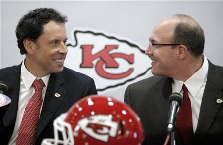In this Feb. 6, 2009, file photo, Kansas City Chiefs coach Todd Haley, left, talks with general manager Scott Pioli before a news conference an - Monday December 27th 2009. Associated Press/ Chris Thornton .......