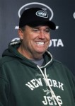 New York Jets coach Rex Ryan smiles during an NFL football news conference, Tuesday, Jan. 4, 2011, in Florham Park, N.J. The Jets are scheduled to play the Indianapolis Colts in a playoff game on Saturday, Jan. 8 in Indianapolis. AP Photo/Mel Evans .........